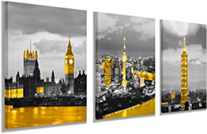 City Building Wall Decor Big Ben in London Pictures - Golden Taipei 101 Building Wall Art Living Room Decor - Canvas Art Framed Posters Paintings