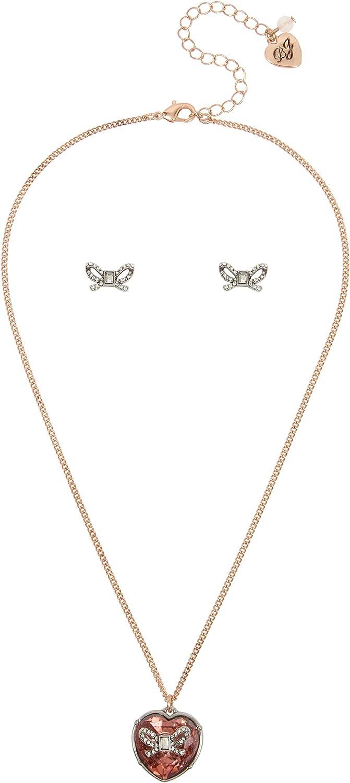 Betsey Johnson Blush Stone Heart Pendant Necklace & Bow Stud Earrings Set