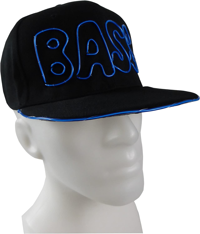 Leuchtende Baseball-Caps BASS als LED-Basecap Blau Gelb Grün Pink Rot Orange