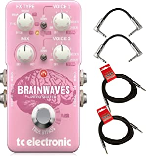 TC Electronic Brainwaves Exceptional Pitch Shifter Guitar Effect Pedal with Studio Grade Algorithms, 4 Octave Dual Voices & Groundbreaking MASH Footswitch 4-in-1 Pitch/Harmonizer Pedal BUNDLE 4 Cabels