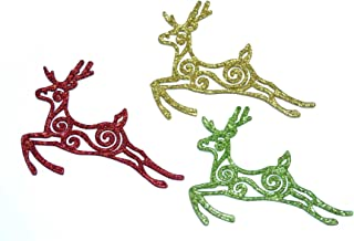 Gifts 4 All Occasions Limited SHATCHI 3Pcs Glitter Reindeer Christmas Tree Xmas Party Hanging Ornament Decor, Multi