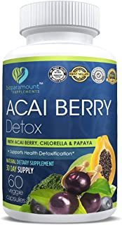 All Natural Acai Berry Detox Weight Loss Supplement Products Anti-Aging Antioxidant Superfood Cleanse and Burn Fat Improve Health Boost Energy Cardiovascular Health and Digestion - Veggie Capsules