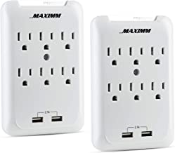 Maximm Multi-Outlet Wall Adapter (2-Pack) Surge Protector (300 Joules) 2-USB Ports 2.1A Wall Charger, Wall Mount Charging Center 6 AC Outlet Wall Mount Adapter, ETL Certified