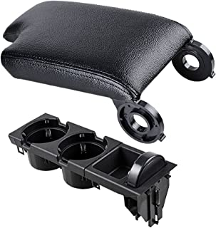 Anzio Black Center Cup Holder + Coin Tray Box + Synthetic Leather Console Lid Armrest Cover Compatible with 1998-2006 BMW Car E46 3 Series