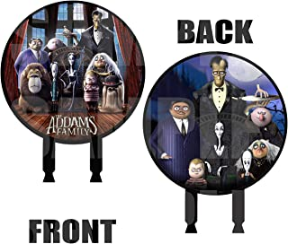 Addams Family Movie Cake Topper, 6 inch Round Circle 2 Sided Centerpiece Different Images Movie, 1 pc, Halloween Cousin IT, Wednesday, Morticia, Gomez, Thing Hand, Pugsley, Margaret