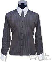 Mens 1930's 1940's1950's Spear Point Collar Grey Texture Bankers Shirt Vintage Classic 100% Cotton 100-45