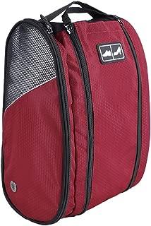 Golf Shoe Bag Travel Sport Gym Yoqa Sock Organizer Odor Resistant Large Zipper Space Shoe's Bag for Men and Women (Red)