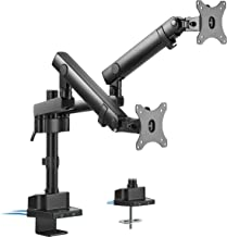 VIVO Premium Aluminum Full Motion Dual Monitor Desk Mount Stand with Lift Engine Arm, Pole Extension, and USB Ports, Fits ...