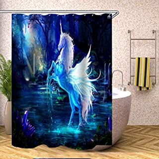 JMbeauuuty Shower Curtain with Hooks Polyester Shower Curtain Liner for Home Bathroom Tub Hotel Decortations 70 x 70 Inches Crystal Horse Waterproof Soft Curtains