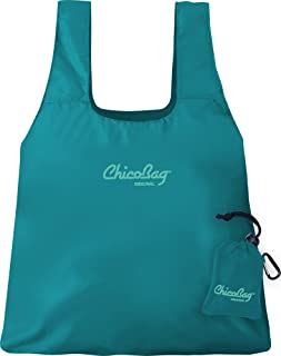 ChicoBag Original Compact Reusable Grocery Bag with Attached Pouch and Carabiner Clip, Aqua Color
