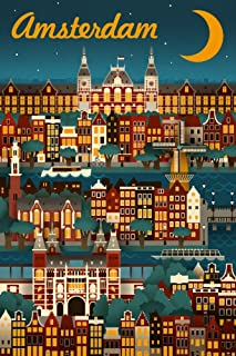 Amsterdam - Retro Skyline (9x12 Fine Art Print, Home Wall Decor Artwork Poster)