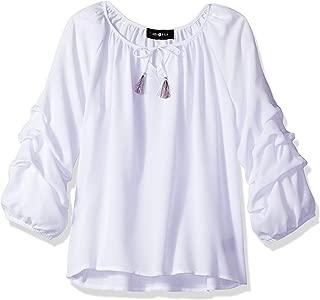 Women's Big Girls' Woven Shirt with Pickup Sleeves