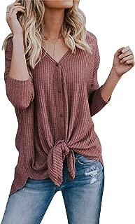 Womens Waffle Knit Tunic Blouse Tie Knot Henley Tops Bat Wing Plain Shirts