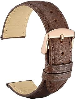 WOCCI Bracelet de Montre en Cuir Rétro, Boucle en Or Rose Polonais, Bande de Remplacement 14mm 16mm 18mm 19mm 20mm 21mm 22mm