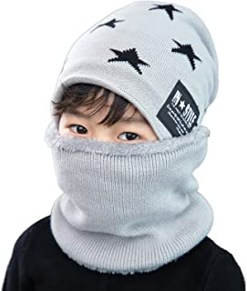 3ae765dbe6a Flammi Knit Beanie Scarf Set Fleece Lined for Boys Girls Warm Snow Ski  Skull Cap