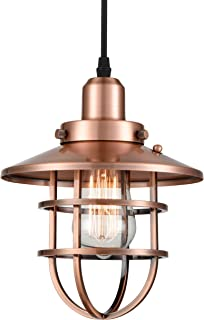 WILDSOUL 20021AC Vintage Edison Kitchen Pendant Light, LED Compatible Industrial Rustic Modern Farmhouse Metal Cage Ceiling Lighting Fixture, with Bulb, Adjustable Cord, Antique CopperFinish