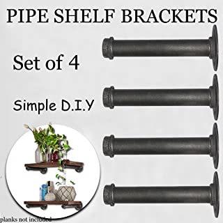 "Industrial Retro Wall Mount Iron Pipe Shelf Brackets,Hung Bracket, DIY Open Storage Shelving,Home Improvement Kitchen Shelves,Tool Utility Shelves (Set of 4,12"")"