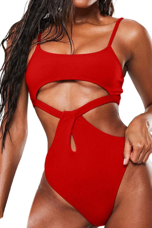 Almaree Women's Spaghetti Strap Cutout High Leg One Piece Swimsuits Swimwear