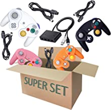 Gamecube Controller Series Accessories Bundle, Includes 4 Gamecube Controller, 4 Extension Cords and a Gamecube Adapter for Nintendo Wii U/Switch/PC (BWPO)