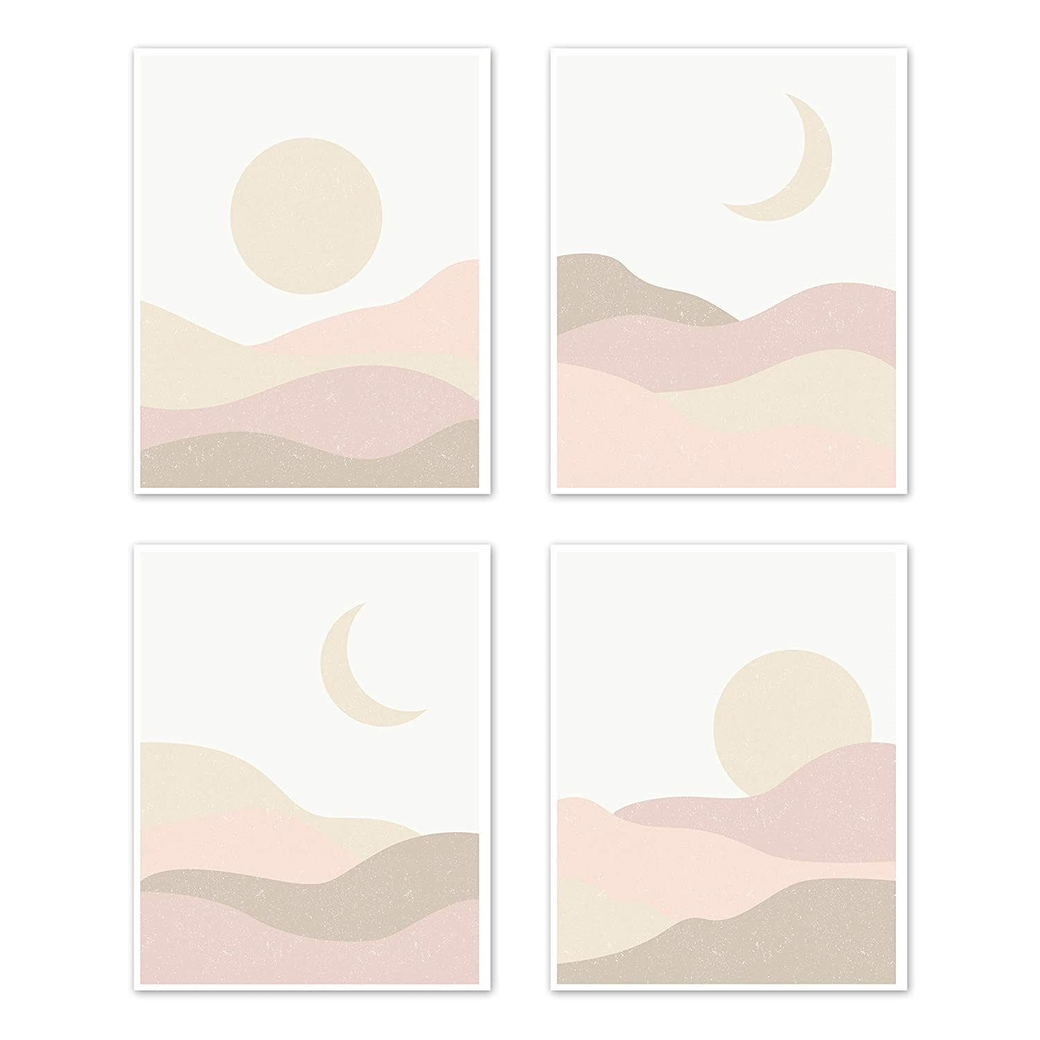 Sweet Jojo Designs Boho Desert Sun Wall Art Prints Room Decor for Baby Nursery Kids - Set of 4 Pink Mauve Gold Ivory Taupe Bohemian Abstract Particle Mountain Southwest Nature Outdoors Moon Sandscape