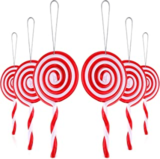 Christmas Lollipop Ornament Christmas Tree Ornament White and Red Christmas Decorations for Home Party (6 Pieces)