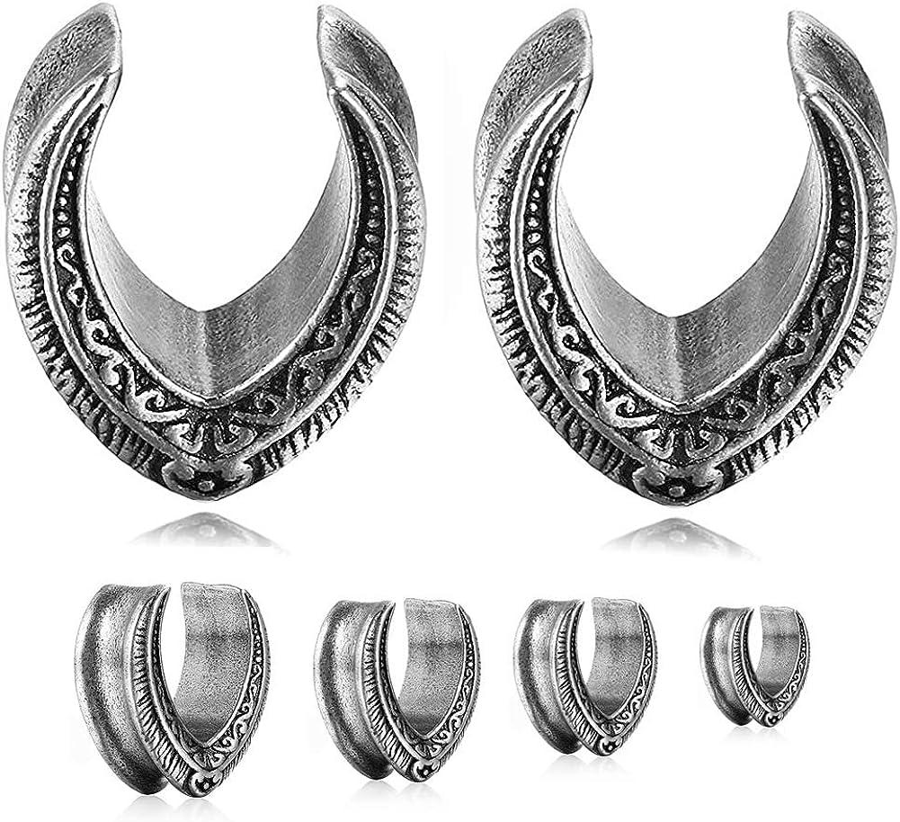 Bigbabybig Ear Plugs Tunnels Stainless Steel Horseshoe Women Men Black Body Jewelry Piercing Earrings Earlets Vintage Hip Hop Cool