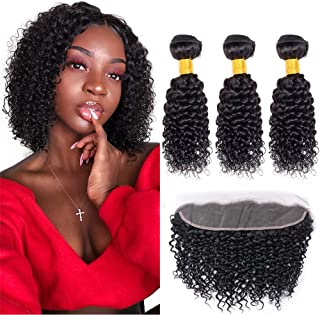 ZILING Brazilian Kinky Curly Hair Bundles With Frontal Closure Free Part Jerry Curl Human Hair Weave 3 Bundles With Lace Frontal 13x4 Ear To Ear Natural Black 8A Grade (10 10 10+frontal 10)