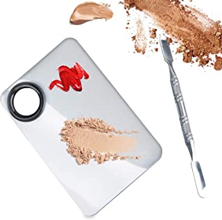 ALIOBC Makeup Palette, Upgrad Stainless Steel Metal Mixing Palette with Spatula Artist Tool for Mixing Foundation Nail-Art