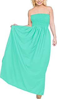 LA LEELA Women's Beach Dress Summer Casual Elegant Party Tube Dress Printed A