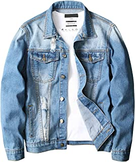 LONGBIDA Men`s Denim Jacket,Classic Ripped Distressed Trucker Jean Coat with Holes