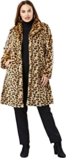 Jessica London Women's Plus Size Faux Fur Swing Coat