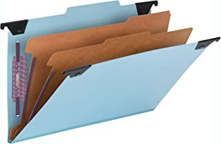Smead FasTab Hanging Pressboard Classification Folder with SafeSHIELD Fasteners, 2 Dividers, 2/5-Cut Built-in Tab, Legal S...