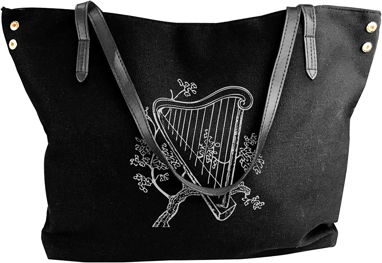 Harp Musical Tree-1 Women'S Recreation Canvas Handbag For Shopping Work Bag