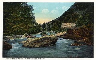 Blue Ridge Mountains, North Carolina - Rocky Broad River Scene - Vintage Halftone (9x12 Art Print, Wall Decor Travel Poster)