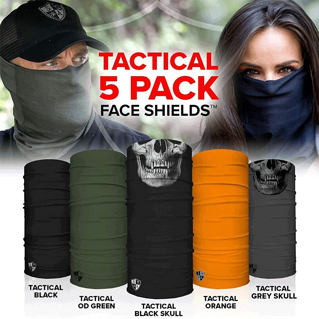 SA Face Shield for Men and Face Shield for Women Tactical 5 Pack of Multipurpose UV Face Shield – Worn 12+ ways as Head Wrap, Neck Gaiter, Headband, Face Shield, Bandana, Balaclava Life Time Warranty