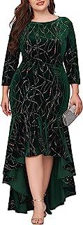 Ever-Pretty Women's Vintage Velet Plus Size High-Low Fishtail Prom Dress for Party 0472-PZ