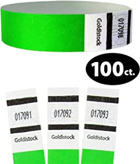 """Tyvek Wristbands - Goldistock Original Series Neon Green 100 Count - ¾"""" Arm Bands - Paper-Like Party Armbands - Heavier Tyvek Wrist Bands = Superior Events"""