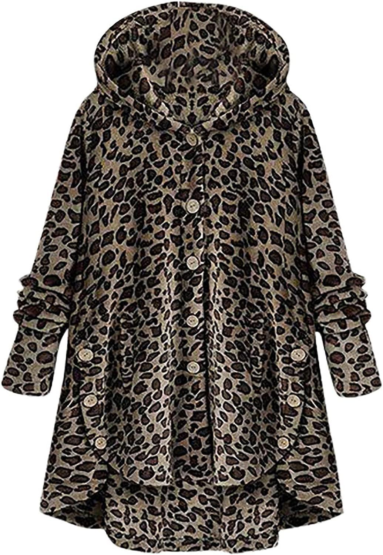 Women's Leopard Button up Tops Jacket Long Sleeve Shirt Hoodies Swing Blouses Fashion Plush Outwear Winter Warm Coat