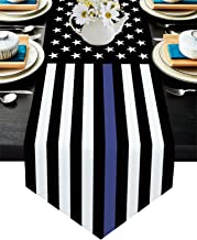 ALAGEO Cotten Linen Table Runner علم الولايات المتحدة الأمريكية 4th يوليو قماش طاولة المطبخ تطبيق القانون رقيقة الأزرق خط ...