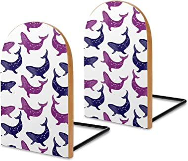 Colorful Whales Book Ends Universal Premium Bookends for Shelves, Non-Skid Bookend, Wooden Book End, Book Stopper for Books/M