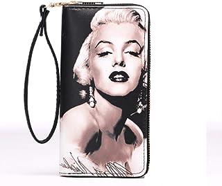 SENFEISM Unisex mujeres cartera de cuero largo monedero monedero titular de la tarjeta Marilyn Monroe impreso embrague bol...