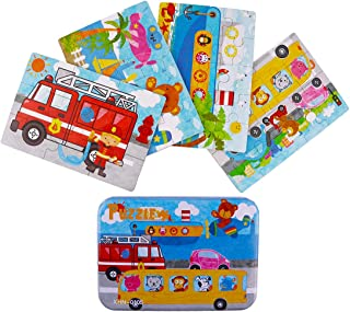 Jigsaw Puzzles for Kids, 4-Pack 4 Complexities Wooden Travel Puzzles with an Iron Box, Best Gifts for 3-5 Years Old Children