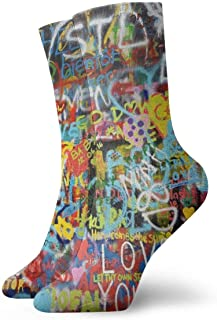 Elsaone, Calcetines de arte de pared de graffiti gracioso loco para niñas y niños