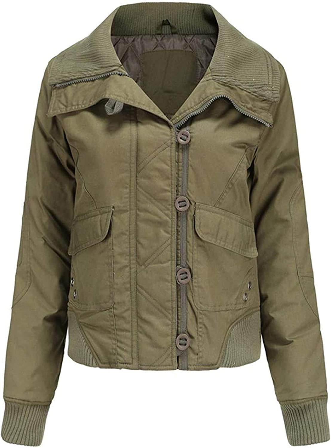 Women's Fall Winter Large Rib Knit Collar Cool Quilted Bomber Jacket