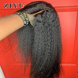 ZIYU Kinky Straight Wig Lace Front Brazilian Human Hair Wigs 13x4 Lace Frontal Wig 180 Density Italian Yaki Human Hair Wig(26