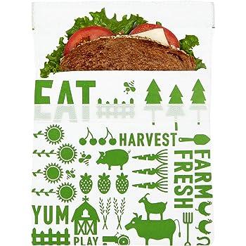 Lunchskins Reusable Sandwich Food, Storage Bag, Green Farm