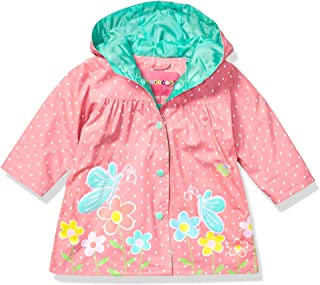 Wippette Baby Girls Water Resistant Raincoats, Flower Salmon, 24M