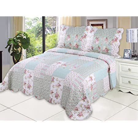 Amazon Com English Roses Quilt Set Cotton Rich Prewashed Preshrunk As Bedspread Bedcover Coverlet Bed Throw Home Kitchen