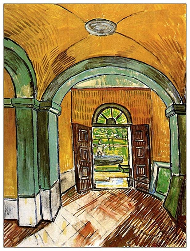 ArtPlaza TW90922 Van Gogh Vincent-The Entrance Hall of Saint-Paul Hospital Decorative Panel, 27.5x35.5 Inch, Multicolored