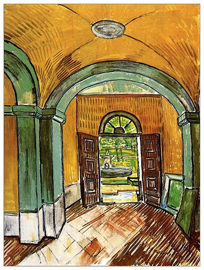 ArtPlaza TW90922 Van Gogh Vincent-The Entrance Hall of Saint-Paul Hospital Decorative Panel, 27.5x35.5 Inch, Multicolored